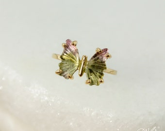 Gold Olive Green Tourmaline Butterfly Ring - Watermelon Tourmaline - Butterfly Jewelry, Choose Your Setting