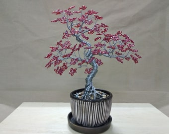 Wire Tree Handmade Beaded Bonsai Sculpture - Wile style