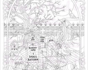 Adult Coloring Page, Fantasy Art, Coloring pages, Digital Download, Spider in the Graveyard, Coloring by Kristi