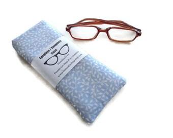 Eyeglass or Sunglass Holder, Eye Wear Accessories, Soft Padded Eyeglass Case, Blue Fabric, Gift for Women,