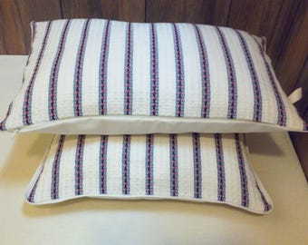 Off-white Designer Pillow cover with red and blue striped, Decorative Pillow case, Handwoven, Cotton Pillow Cushion