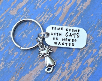 Cat keychain, time spent with cats is never wasted keychain,  time spent with cats keychain, gift for cat lover, kitten keychain, cat lover
