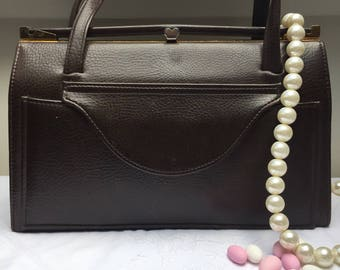 Classy Brown Leather Look Vintage Handbag