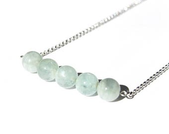 Aquamarine Sterling Necklace Natural Aquamarine Light Aqua Pale Blue Sterling Silver Argentium Chain Gemstone Bar Necklace Five #17534