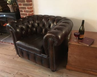 SOLD ***  Dark Brown Leather Chesterfield Club Chair in Excellent Condition with Fantastic Patina