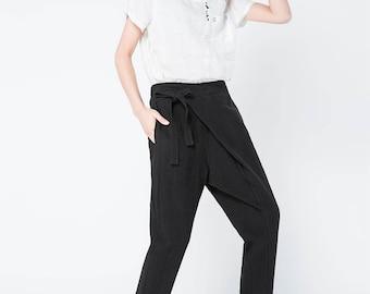 linen trouser, linen harem pants, black pants, linen pants women, black trouser, women harem pants, loose pants, casual pants  C1108