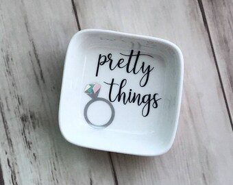 Pretty Things Ring Dish | Jewelry Dish | Wedding Ring Dish | Engagement Ring Dish | Sparkle Ring Dish