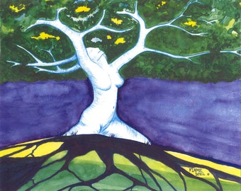 SALE,Ecstatic,Goddess Tree,Dryad,Pagan art,Blue Ridge mountains,fantasy landscape,dryad,sensual,Flame Bilyue,springtime forest,tree of life