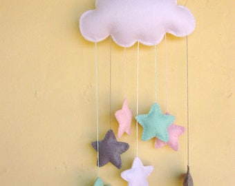 Pink, mint green and elephant grey stars and cloud nursery mobile can be personalised
