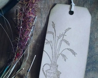 """Autumn Bundle gift tags, primitive, rustic, hand stamped gift tags, wheat bundle, sized 4 1/4"""" x 2 1/8"""", set of 12."""