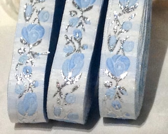 CLEARANCE SALE  50 discount,Satin Floral Jacquard Ribbon Trim with baby blue flower Flowers Jacquard Trim, Embroidered border,patterned trim