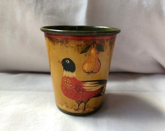 VintageHand Painted Pheasant Bird with Pear Toleware Cup