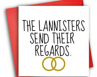 Game of Thrones Wedding Card/ The Lannisters / Wedding Card
