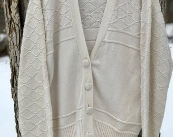cotton cream vintage fisherman cardigan with fabric buttons, size large