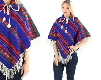 Mexican Poncho Vintage 70s Hippie Boho Poncho Peruvian Striped Fringe Poncho Wool Ethnic Cape Blanket Poncho Bohemian Women Gift . Small