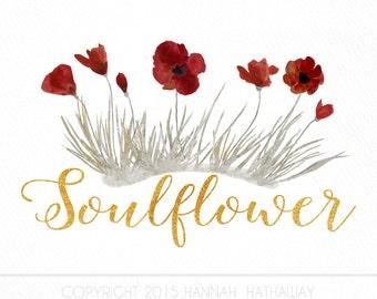 Wildflower Red Poppy Logo: Premade Boho Business Logo (Item #137BK)