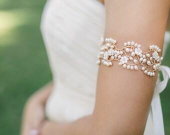 wedding bracelet, bridal cuff, bridal bracelet, wedding cuff, pearl cuff bracelet, floral bracelet, flower bracelet, pearl bracelet - KARIN