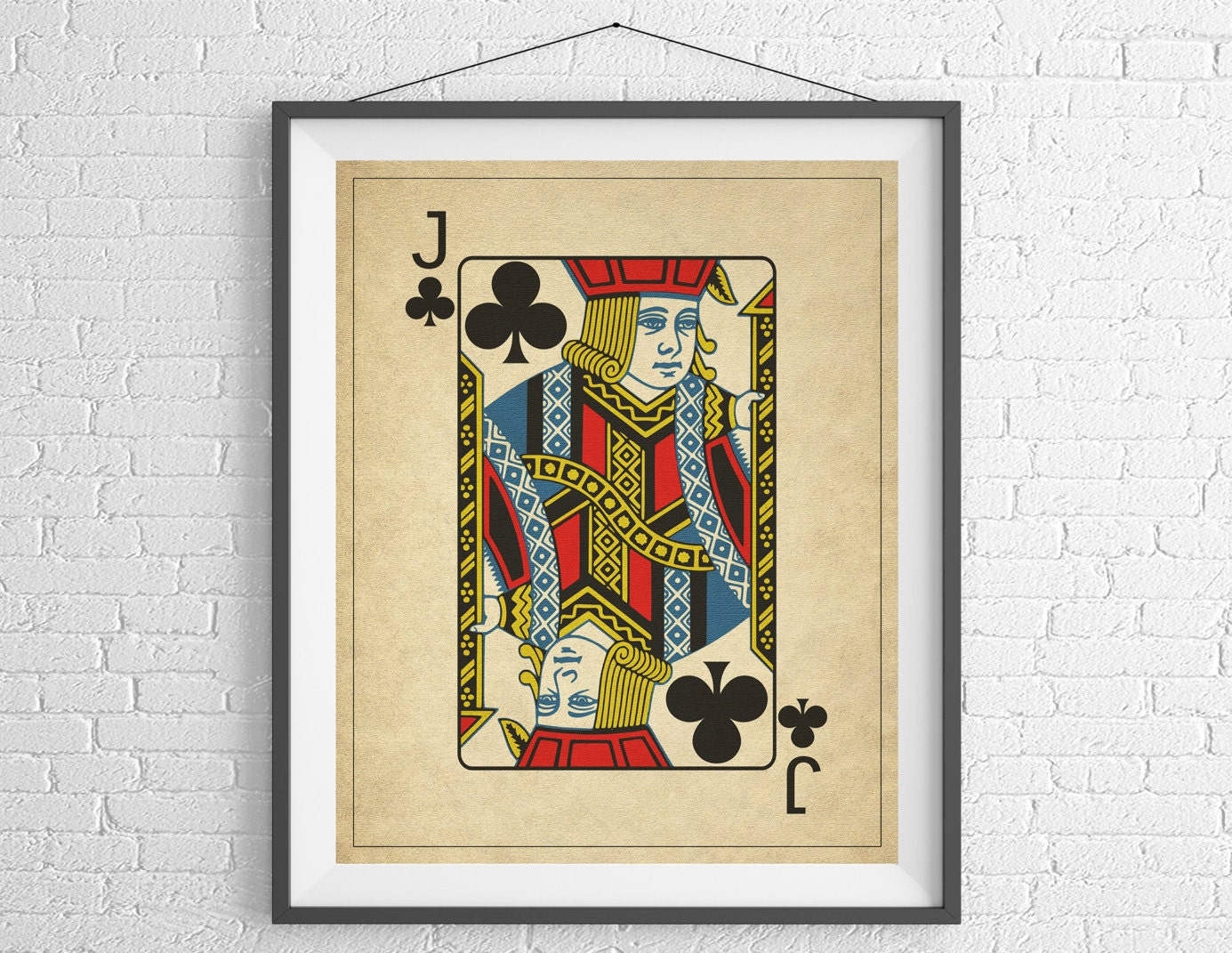 Jack of Clubs, Playing Card Art, Game Room Decor, Game Room Art ...