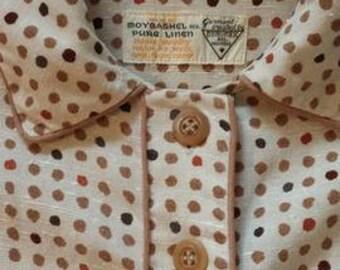 1950s Moygashel linen dress with pockets
