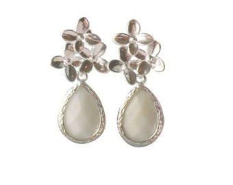 White cherry blossom flower silver earrings,Bridal jewellery, Gifts for girls, White wedding Jewellery, Gifts for girlfriend, Silver jewelry