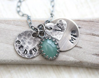 Mothers Necklace, Rustic Personalized Necklace, Name Necklace, Birthstone Necklace, Mom Necklace, New Mother Necklace, custom hand stamped