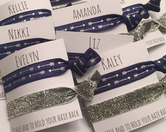 Bridesmaid hair tie favor//last fling navy arrow & thick silver//elastic hair ties//party favor//bachelorette