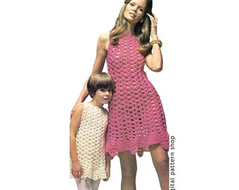 Crochet Dress Pattern Womens & Girls Shell Summer Dress Crochet Pattern Mommy and Me Dress Instant Download PDF Pattern DIY Printable C107