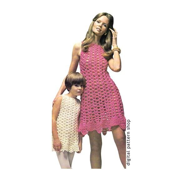 Crochet Dress Pattern Womens Amp Girls Shell Summer Dress