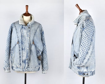 Quilted Acid Wash Jean Jacket with Faux Shearling Lining and Real Leather Trim