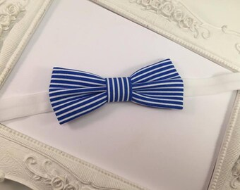 "Bow tie ""Marin"" striped White and blue - child"
