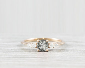 Salt and pepper diamond engagement ring in yellow/white/rose gold or platinum handmade unique