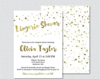 White and Gold Lingerie Shower Invitation Printable or Printed - Faux Gold Foil Lingerie Shower, Gold Bachelorette Party Invite 0010-G
