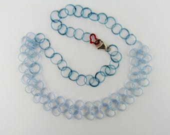 Handmade Chainmaille necklace - Boro Glass Chain - Something Blue Necklace - Bridal Necklace - Borosilicate Art Glass Chainmaille - Lampwork
