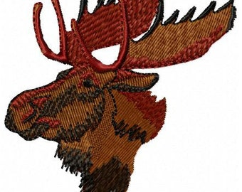 Moose Head Machine Embroidery Design - Instant Download