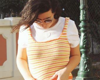 Handmade Orange, Yellow and White Stripes Tank Top