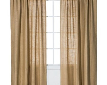 Burlap curtain, curtains, burlap, drapes, drapery, burlap window treatment, curtain panel, rustic decor, home decor, custom sizes available