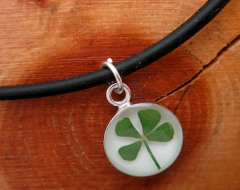 REAL 4 Leaf Clover Pendant - White Round on 18 inch black cord - LUCK - lucky - Irish - Four - Shamrock - Good luck - graduation