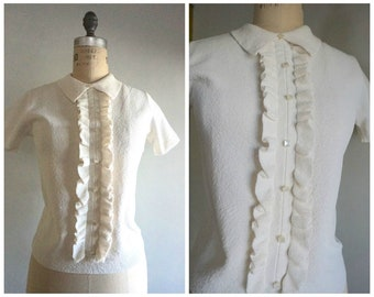 Vintage 60s Cream Colored Ruffle Front Blouse