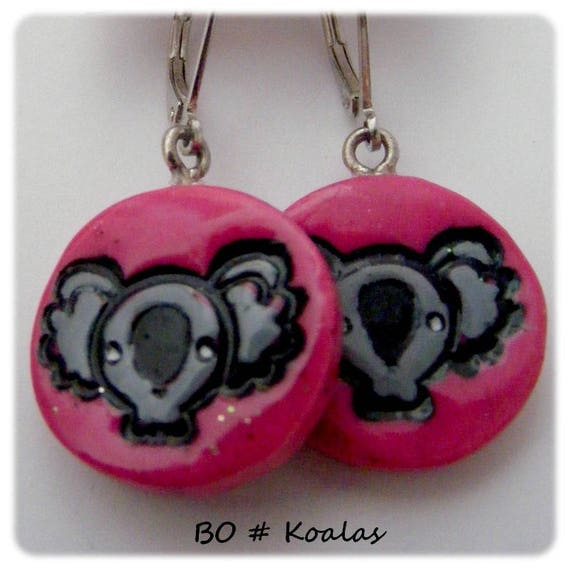 [Koalas] designer earrings - Rose - grey - black