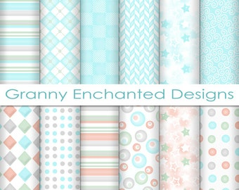 12 Digital Papers - Teal, Gray, Pink, and Green soft Patterns for Digital Backgrounds, Invitations, Scrapbook Paper, and Web Design