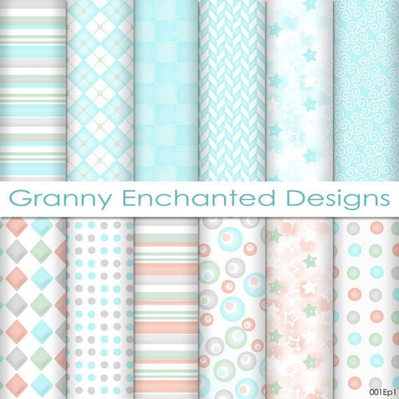 12 Digital Papers Teal Gray Pink And Green Soft Patterns