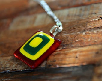 Fused Glass Art Necklace - Red, Yellow, Green