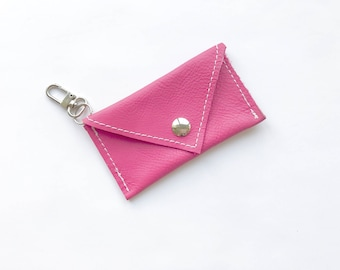 Pink Credit Card Pouch - Mini Wallet - Genuine Leather- Dark Pink