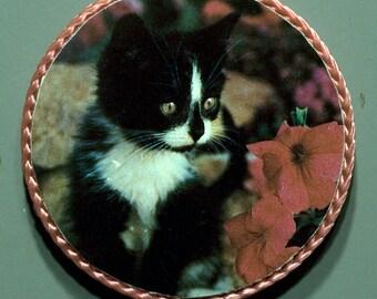 Kitty, black and white handmade vintage magnet, 1980's