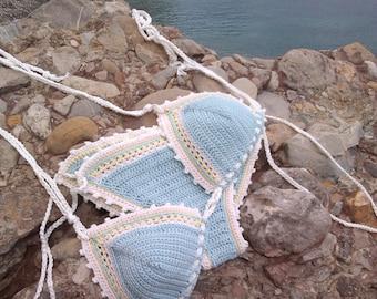 crochet bikini Aqua Blue  - Bikini Crochet beachwear Crochet swimwear Crochet swimsuit Bikini Boho bikini Hippie bikini String bikini