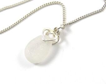 Mer blanche en verre pendentif Collier coeur souhaitée Morel