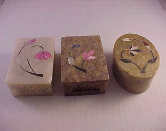 3 Carved Soapstone Covered Boxes with Inlay Flower Top Covers Trinket Box Dresser Box Ring Box