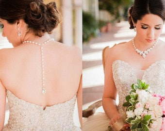 Backdrop Pearl Necklace Crystal Necklace Bridal Necklace Vintage Style Wedding Jewelry Statement Bridal Necklace Swarovski crystal ERIN