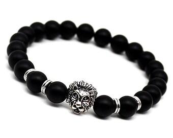 Mens Bracelet, Mens Gift, Onyx Bracelet, Onyx Lion Bracelet, Mens Lion Bracelet, Lion Jewelry, Mens Beaded Jewelry, Black Gemstone Bracelet