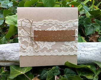 Kraft and lace wedding invitation - wedding invitation card